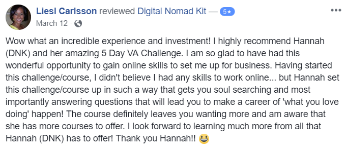 Testimonial for Digital Nomad Kit by Liesl Carlsson