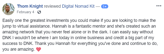 Testimonial for Digital Nomad Kit by Thom Knight