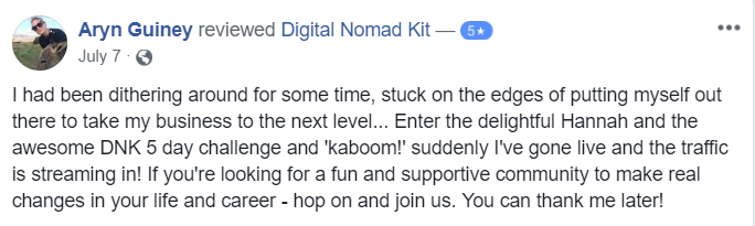Testimonial for Digital Nomad Kit by Aryn Guiney