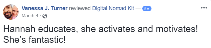 Testimonial for Digital Nomad Kit by Vanessa J. Turner