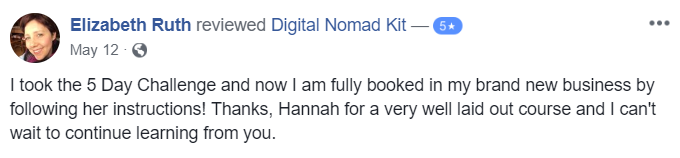 Testimonial for Digital Nomad Kit by Elizabeth Ruth