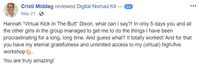 Testimonial for Digital Nomad Kit by Cristi Middag