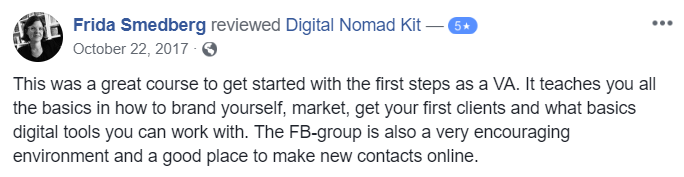 Testimonial for Digital Nomad Kit by Frida Smedberg